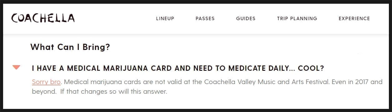 Coachella's response to Medical Marijuana use