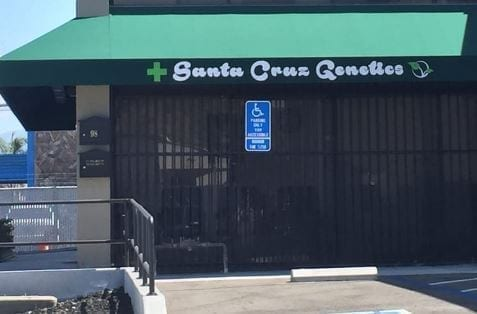 Storefront Of The Best Marijuana Dispensary In San Jose, Santa Cruz Genetics