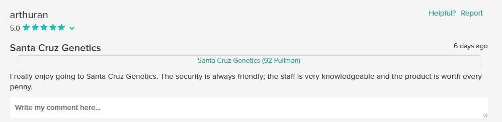 Satisfied Santa Cruz Genetics Customer Review