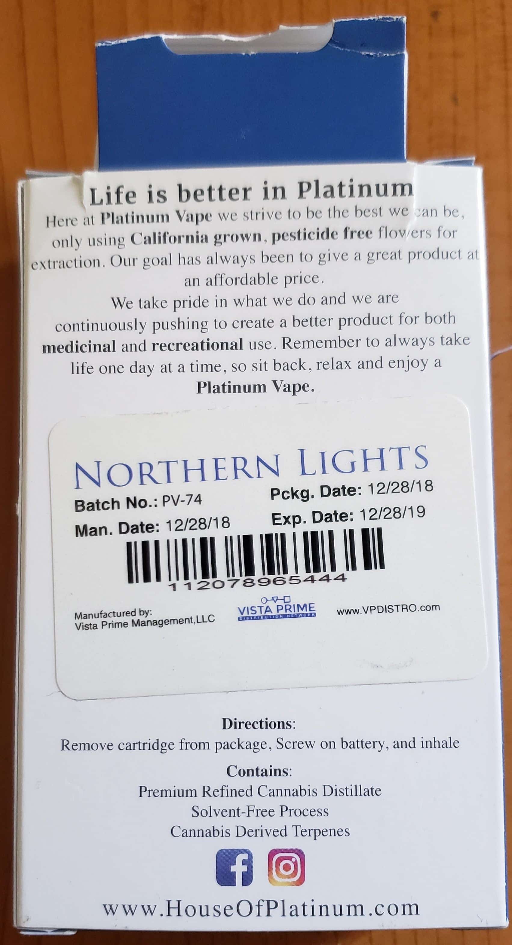 Platinum Vape Label