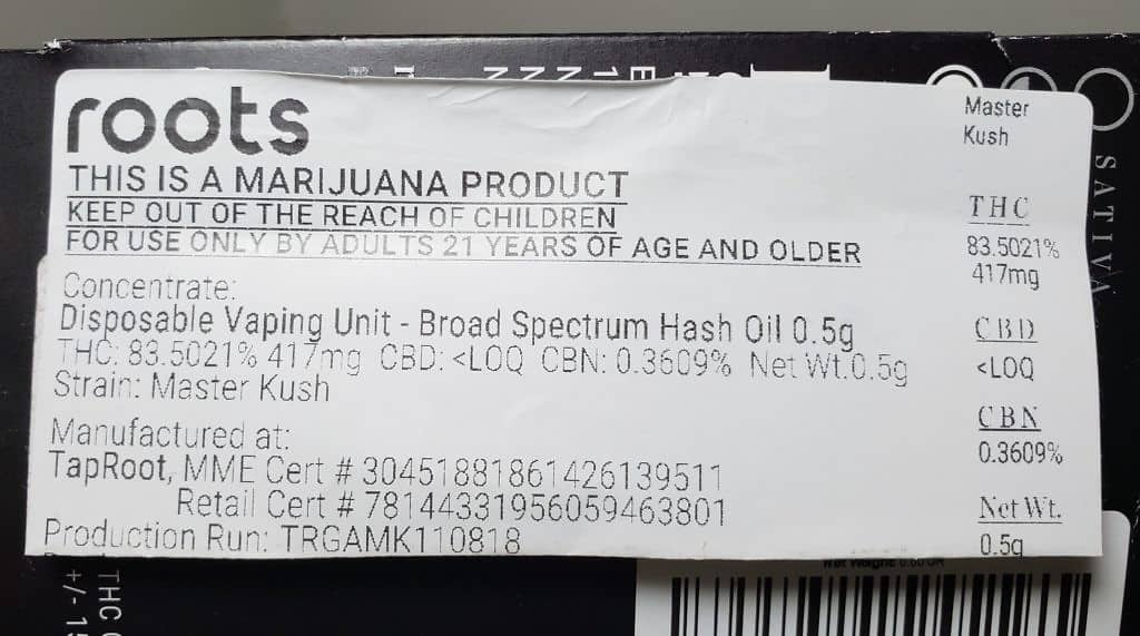 roots master kush test results