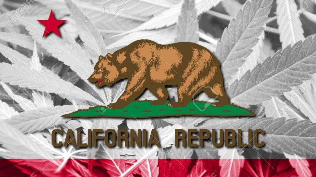 california flag with weed motif
