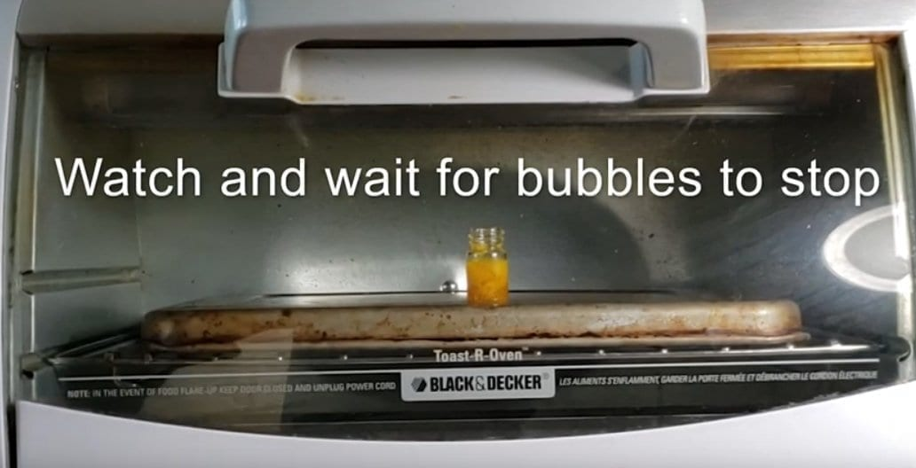 Heating shatter using toaster oven.