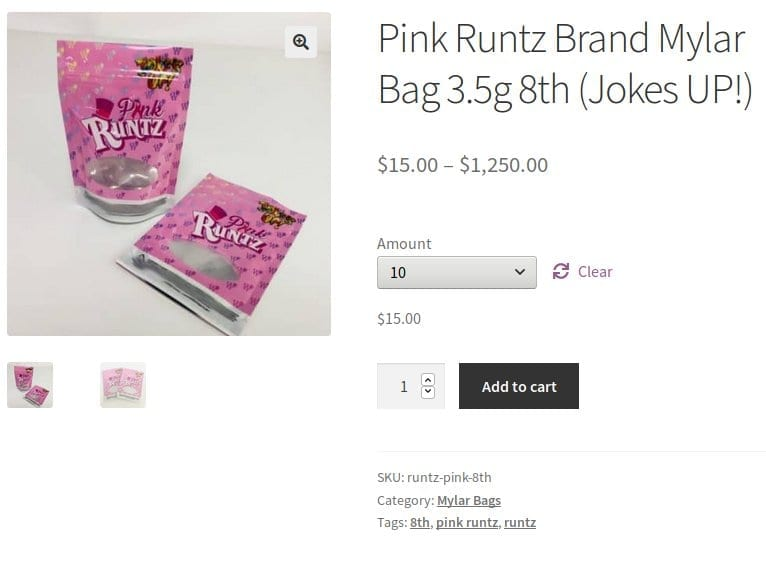 Runtz brand mylar flower bag packaging
