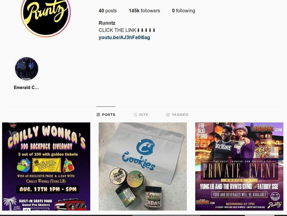 @runntz Instagram page fake brand