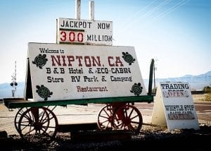 A sign in Nipton, California