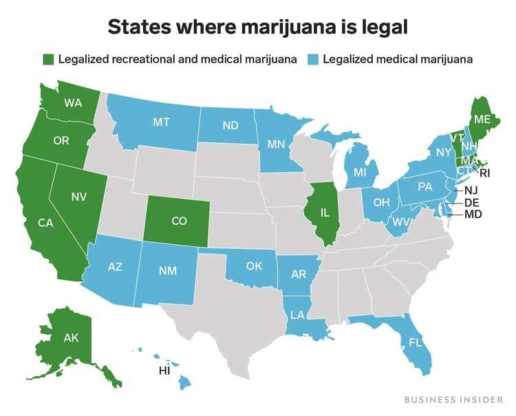map of legal cannabis states
