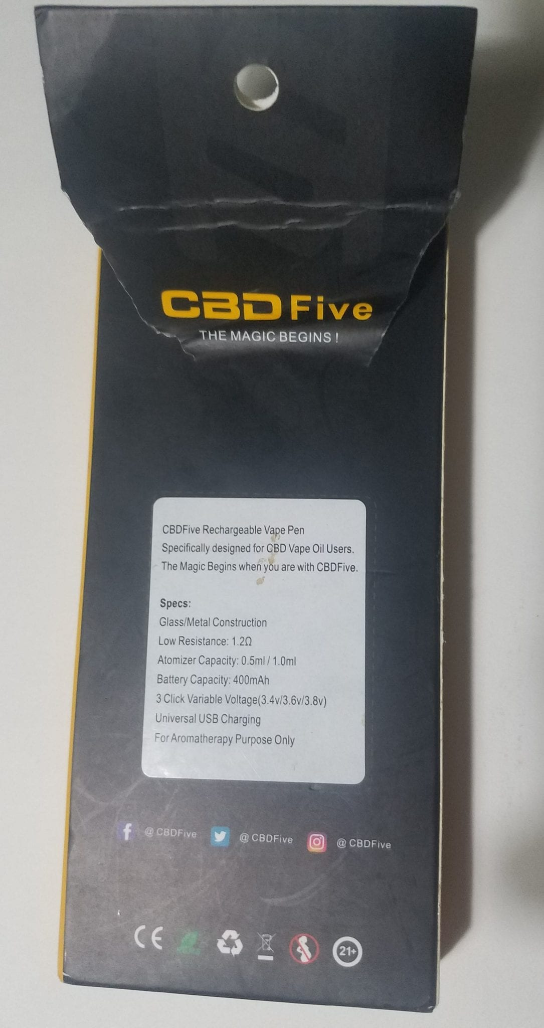 CBD5 exterior package text