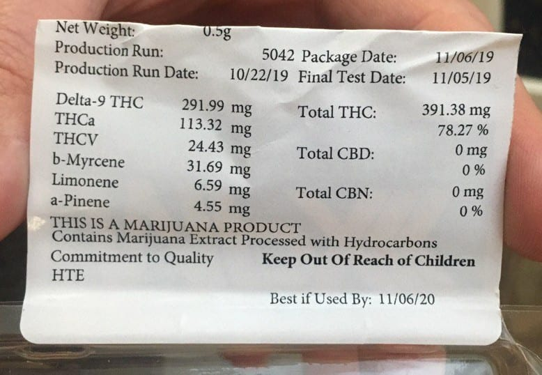 mpx live resin test results