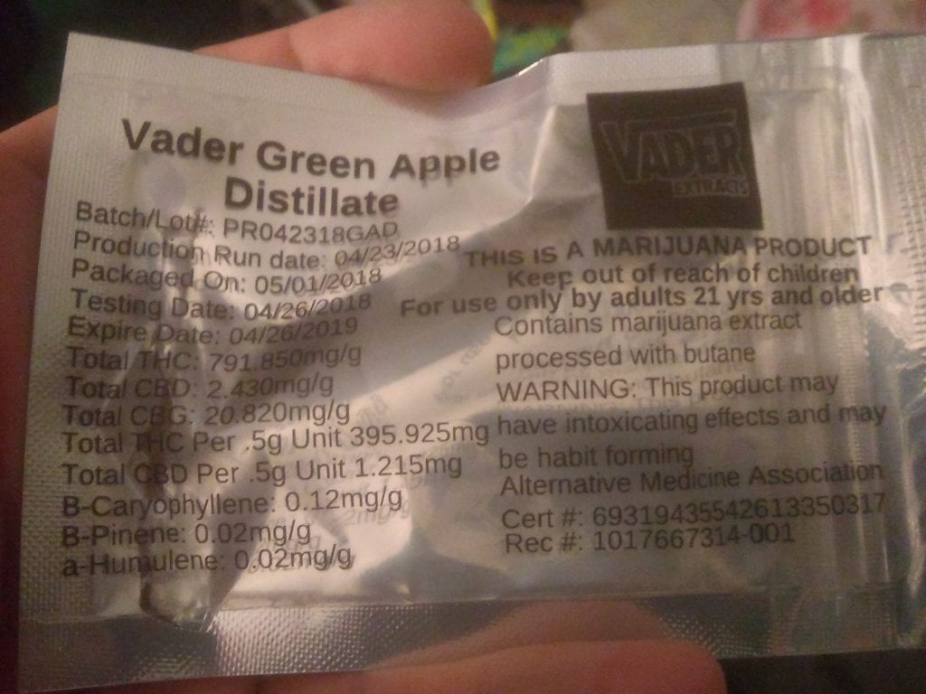 vader extracts green apple test results
